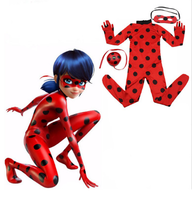 Girls Miraculous Ladybug Marinette Dupain Cheng Cosplay Costume jumpsuit Xmas