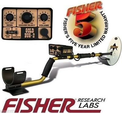 """FISHER GOLD BUG 2 II GOLD PROSPECTING Metal Detector w/ 6.5"""" Search Coil 5 YR WR"""