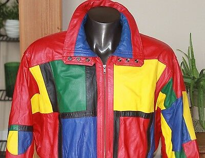 TIBOR VINTAGE LEATHER JACKET SZ LARGE Disco Red/Yellow/Green/Blue/Black 80s 90s