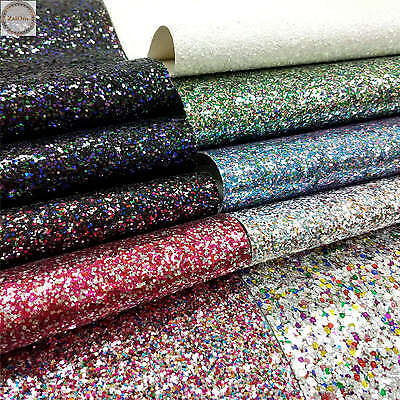 Mix Colour Chunky Glitter Sparkly Fabric Vinyl Faux Leather Bows Craft Sheets