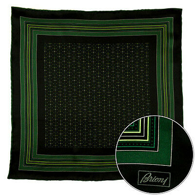 BRIONI Black Green Abstract Silk Hand Rolled Pocket Square Handkerchief Hanky