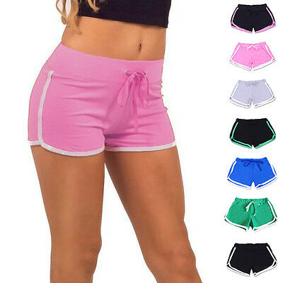 Women Summer Cotton Yoga Pants Gym Workout Casual Sports Shorts Waistband Skinny