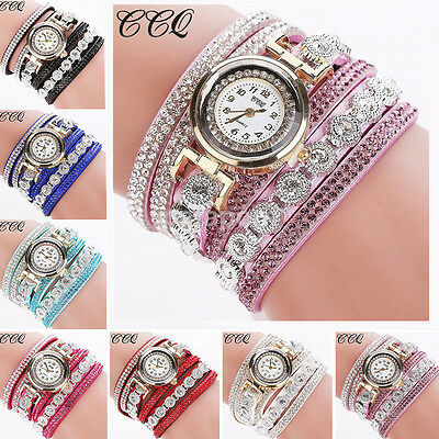Fashion Women Lady Rhinestone Crystal Bracelet Dial Analog Wrist Watch Quartz