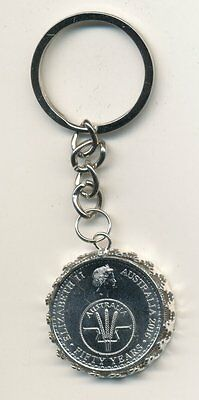 2016 Australian 10cent Coin Key Ring - 50 Years of Decimal Currency  #1014