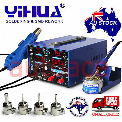 3in1 YIHUA853D 3A DC POWER SUPPLY HOT AIR GUN SOLDERING REWORK STATION OZ SELLER
