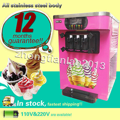 three color ice cream Countertop Soft Serve Ice Cream Machine with control panel