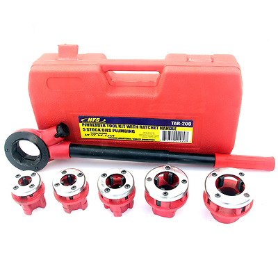 """Pipe Threading Tool with Ratchet Handle - 3/8"""", 1/2"""", 3/4"""", 1"""", 1-1/4"""" Dies"""