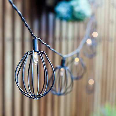 10 Black Metal Balloon Cage Solar Powered Garden Patio LED Fairy String Lights