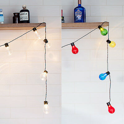 20 LED Warm White or Multi Coloured Festoon Party Wedding String Lights, 4.75m