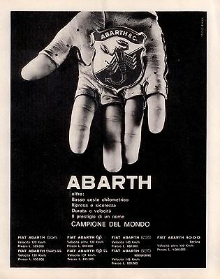 Pubblicità originale Anni 60 ABARTH advertising reklame werbung publicitè old