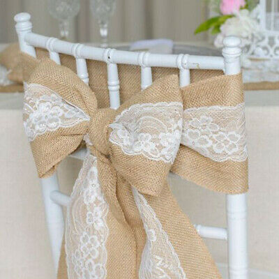 10 Hessian Lace Sash Jute Burlap HESSIAN Chair Cover Sashes Wedding Party Favor