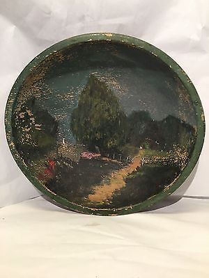 Primitive Antique Folk Art Wooden Bowl with Painted Country Cottage Scene