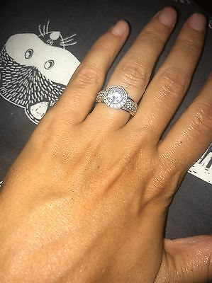 9ct Solid White Gold Ring With CZ Super Sparkling