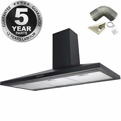 SIA CH101BL 100cm Black Chimney Cooker Hood Extractor Fan + 1m Ducting Kit