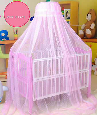 Baby Toddler Bed Dome Cots Mosquito Netting Hanging Dome Bed Mosquito Net Pink