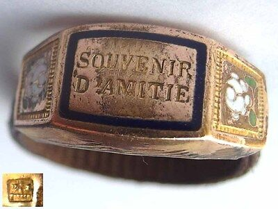 Seltener Biedermeier Ring, Double, Emaille, Haararbeit, France, um 1850 G188