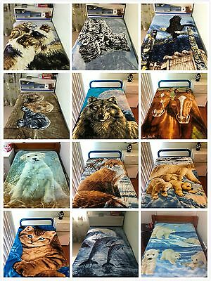 Thick Winter Mink Blanket Soft Throw 130cm x150cm Animal Design