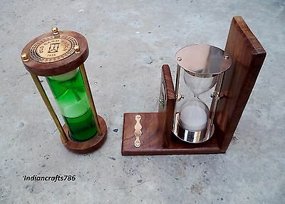 Antique Liquid Hourglass Vintage Wood Nautical Sand timer Maritime Hand made