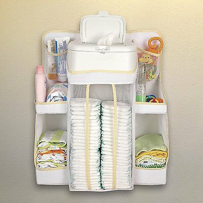 Baby Nursery Storage Hang Crib Organizer Diarper Shelves Table Holding Toy Cream