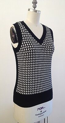 Vintage Houndstooth Sweater Vest Banana Republic Size Small Cotton Wool B14