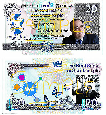 Novelty Scottish independence Referendum 2 (INDYREF2) Smakeroonies Bank Notes