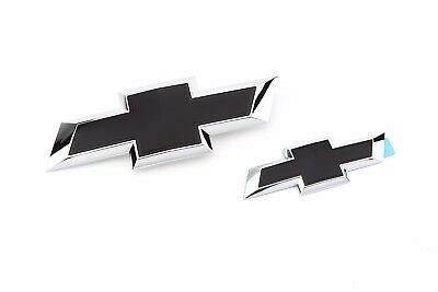 2015-2018 Tahoe & Suburban GM Front and Rear Black Bowtie Set 23463800 OE GM New