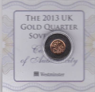 Boxed 2013 Gold Bullion Issue Quarter Sovereign In Capsule With Certificate