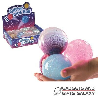 GLITTER WATER JETBALL BOUNCY BALL 6cm ass colours toy gift outdoors childs kids