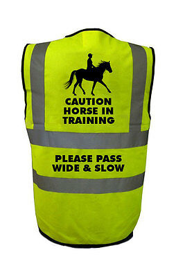 Caution Horse In Training Please Pass Wide and Slow Hi Visibilty Safety Vest Yel