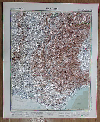 1926 WESTALPEN Alpes Occidentales Alps Kupferstich alte Landkarte Antique Map