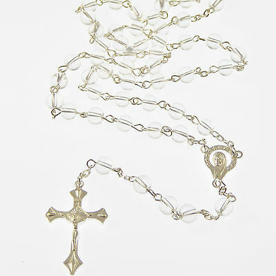Clear glass Catholic rosary beads Our Lady center 6mm silver chain and cross
