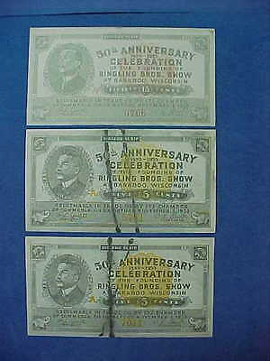 1933 Ringling Brothers Circus 50th Ann. Scrip Baraboo Wisconsin  two 5c & one15c