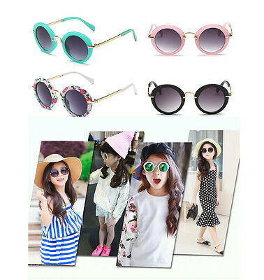 Kids Baby Girls Boys Travel Holiday Round Vintage Sun Glasses Sunglasses +Case