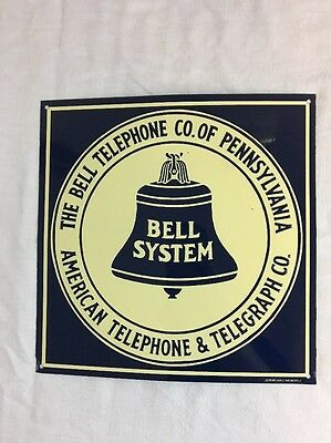 Vintage The Bell Telephone Co of Pennsylvania Bell System Tin Advertising Sign