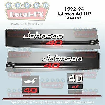 1992-94 Johnson 40HP Decals 2 Cylinder Outboard Reproduction 8Pc Marine Vinyl