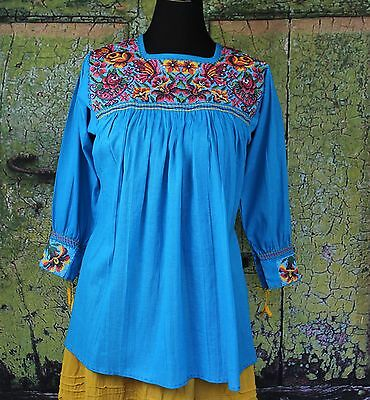 Turquoise & Multi-Color New Style Blouse Mayan Chiapas Mexico, Hippie, Cowgirl