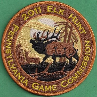 """Pa Pennsylvania Game Fish Commission NEW 2011 Elk Hunt - Hunting 4"""" Cloth Patch"""