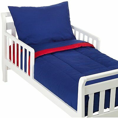 American Baby Company 100% Cotton Percale 4-piece Toddler Bedding Set, Red/Royal