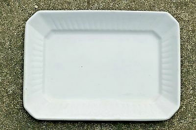 "Wedgwood White English Ironstone 12"" Square Ridged Serving Platter 1880s-1895"