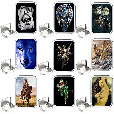 Various  Designs Silver Hinged Tobacco Tins, 50ml/1oz. storage Box,Storage Tin
