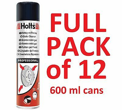 12x HOLTS PROFESSIONAL BRAKE AND CLUTCH CLEANER AEROSOL SPRAY 600ML 1 FULL CASE