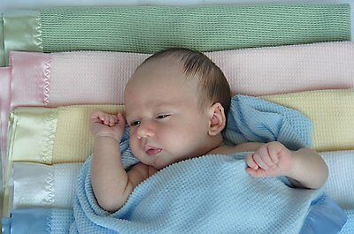 Thermal Waffle Weave Baby Blanket with Satin Nylon Trim green