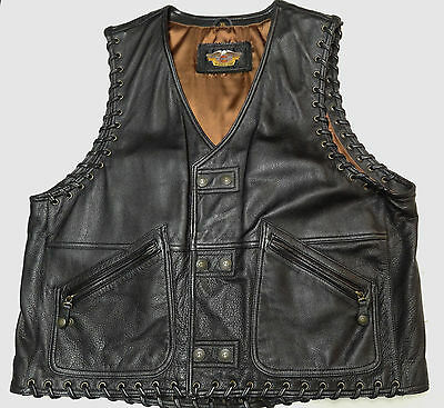 Harley Davidson Rare Southwest Leather Vest Mens Xl *more Hd Leathers Listed*  7