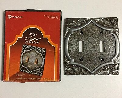 Vintage Amerock Monterey Antique Silver Double Brass Light Switch Cover Plate