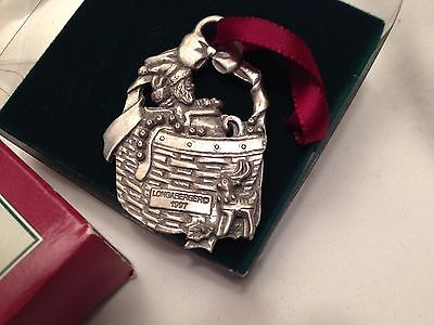 Longaberger1994 Jingle Bell Basket Pewter Christmas Ornament in Original Box