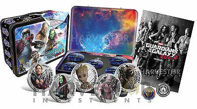 Guardians Of The Galaxy Silver 5-Coin Set Lunchbox Case With Extras - New Movie