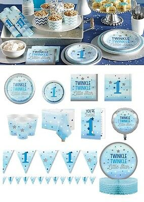 One Little Star Tableware Boy 1st Birthday Party Supplies Blue Twinkle Twinkle