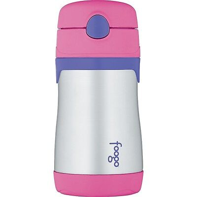 THERMOS FOOGO Vacuum Insulated Stainless Steel 10-Ounce Straw Bottle Pink... NEW