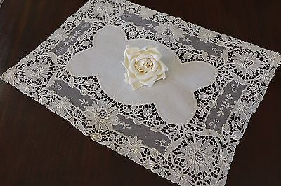 c1900 Fine Schiffli  Lace Doily on French Net w/ Linen Center