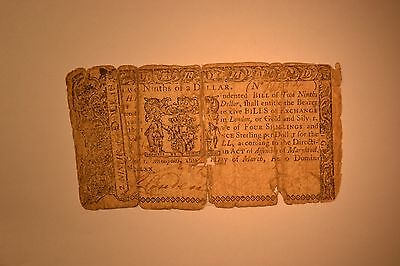 Maryland Colonial Note- March 1, 1770 $2/9-  Very rough with old stitching etc/